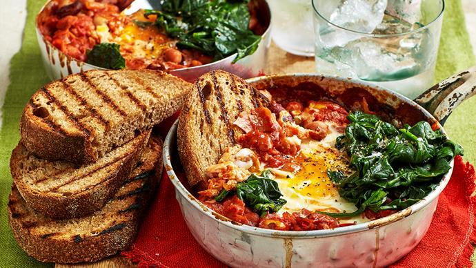 Baked eggs with beans