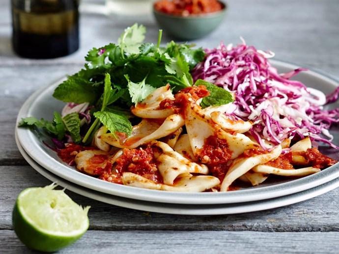 Calamari and pounded sambal with cabbage salad