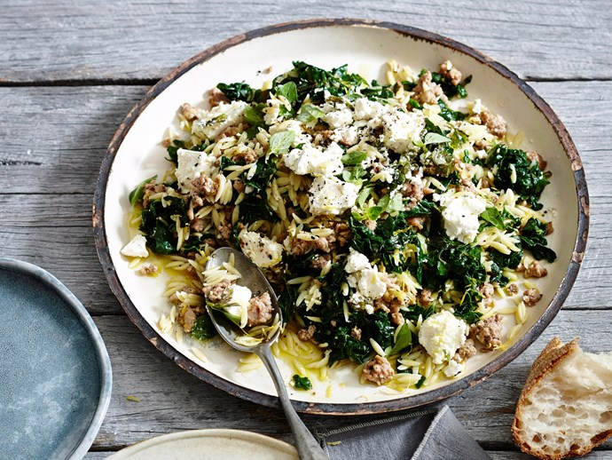 "Orzo is a filling, flavour-absorbing addition to this [pork, silverbeet and feta dish](https://www.foodtolove.co.nz/recipes/orzo-with-pork-silverbeet-and-feta-2546|target=""_blank"")."