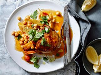 Spiced chicken with chickpeas, carrot and preserved lemon