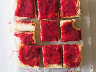 Custard squares with rhubarb