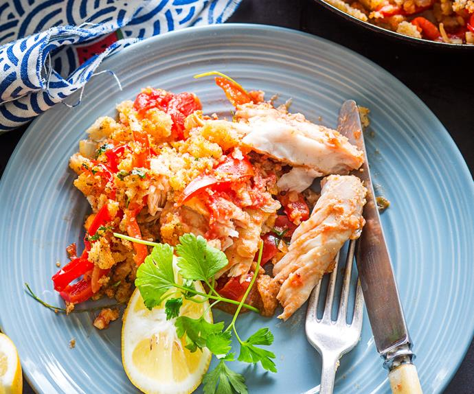 Spanish fish and sweet peppers