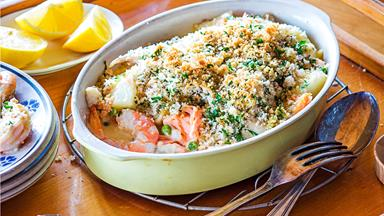 Golden-topped seafood bake