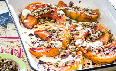 Roast pumpkin with seeds and pomegranate dressing