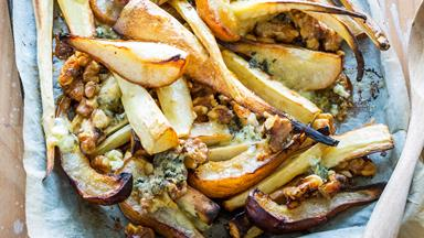 Roasted parsnip, pear, blue cheese and walnuts