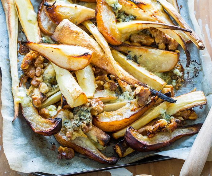 Parsnip, pear, blue cheese and walnuts
