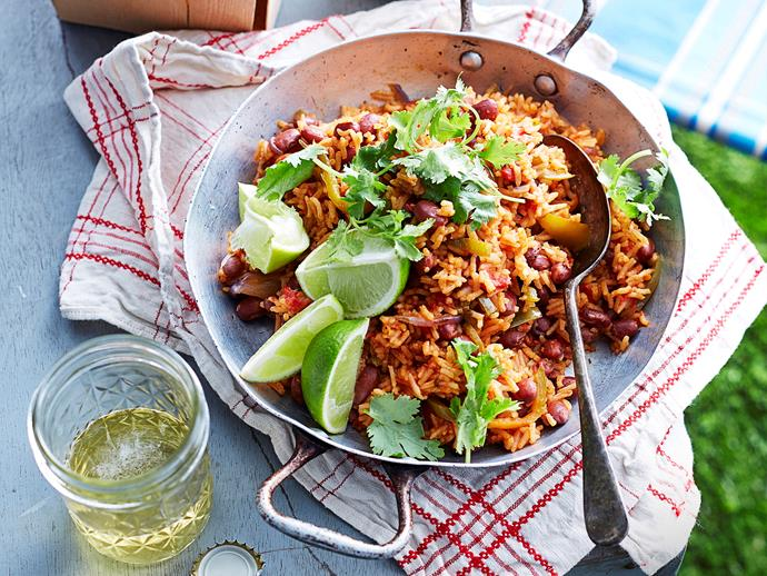 """**[Mexican rice and beans](https://www.womensweeklyfood.com.au/recipes/mexican-rice-and-beans-15749