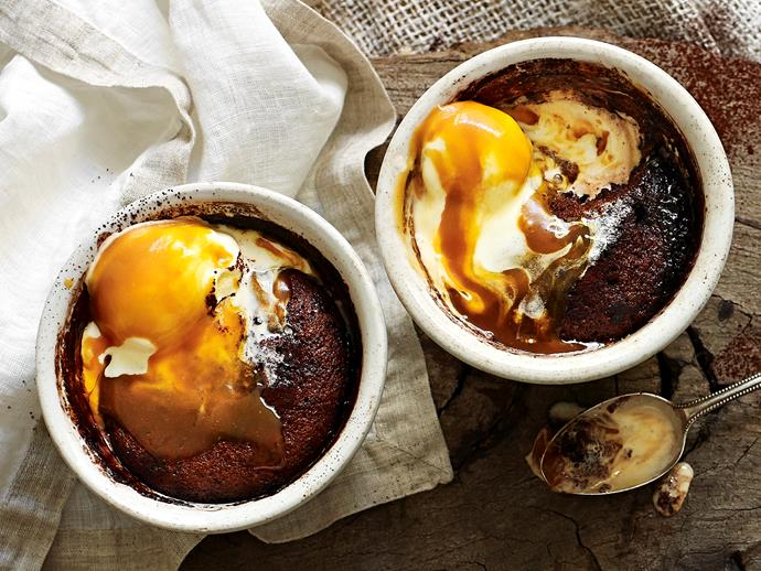 "These decadent [self-saucing puddings](https://www.womensweeklyfood.com.au/recipes/chocolate-and-caramel-self-saucing-puddings-9563|target=""_blank"") are complete with an oozy melted chocolate centre. Serve drizzled with a rich caramel sauce and a dollop of vanilla ice-cream for the ultimate weekend dessert."