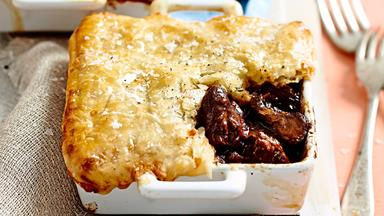 Beef and mushroom pies with cheese pastry