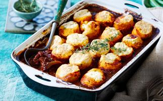 Beef goulash with herb dumplings