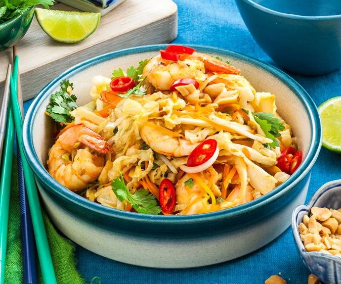 Cabbage and prawn pad thai