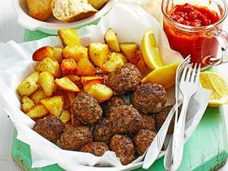 Meatballs with patatas bravas