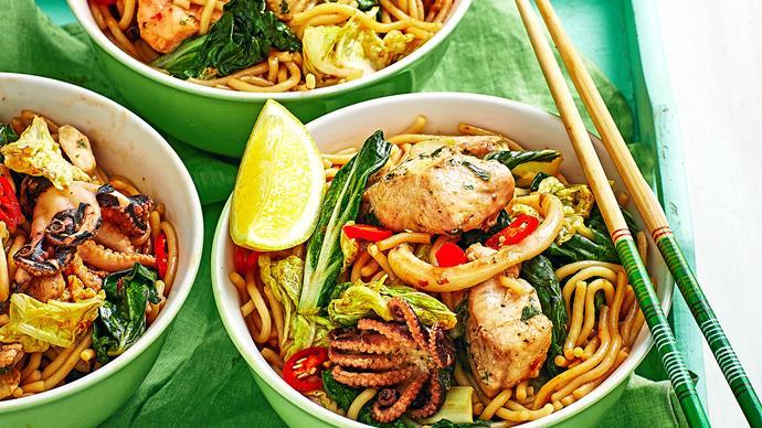 Marinara mix and noodle stir-fry