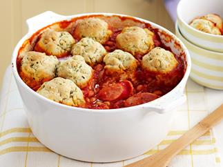 Sausage and bean hotpot with herb dumplings