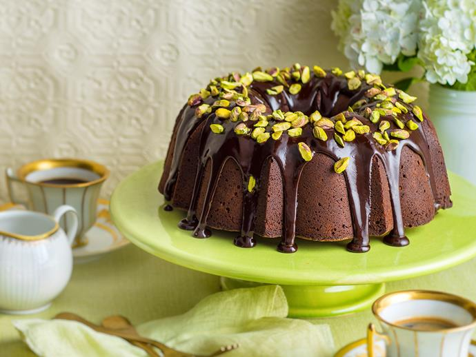 "**[Dark chocolate bundt cake](https://www.womensweeklyfood.com.au/recipes/dark-chocolate-bundt-cake-1593|target=""_blank"")**  This wonderfully rich bundt cake is brilliant served with a drizzling of delicous dark chocolate glaze and sprinkling of crunchy pistachio nuts, creating a weekend treat to indulge your sweet tooth."