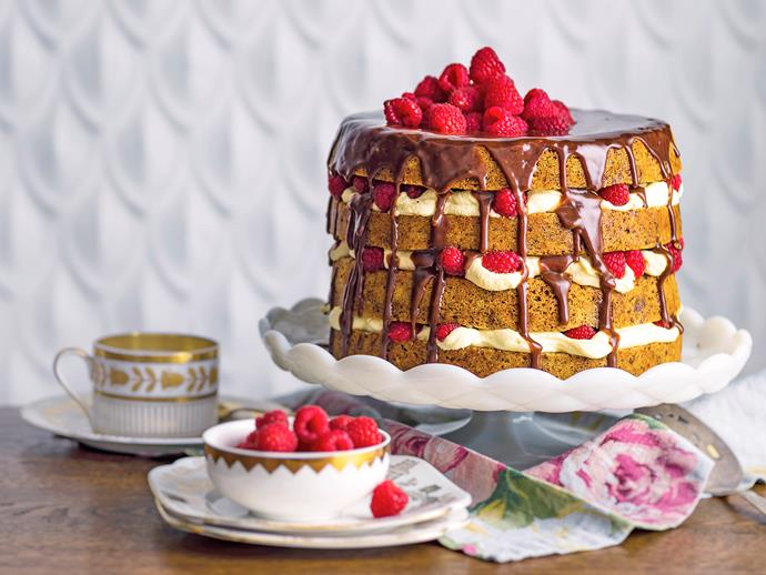 """**Chocolate mascarpone layer cake recipe** <br><br> The irresistible layers of light choc-hazelnut cake, a rich mascarpone cream and a decadent milk chocolate ganache makes this show-stopping dessert worthy of any celebration.  <br><br> [**Read the full recipe here**](https://www.womensweeklyfood.com.au/recipes/chocolate-mascarpone-layer-cake-1550