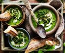 Broccoli and kale soup with lemon creme fraiche