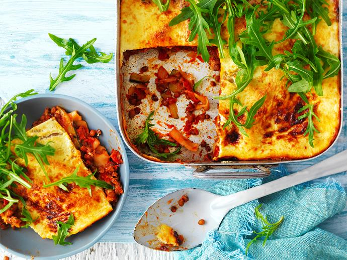 "**[Char-grilled zucchini and lentil lasagne](http://www.womensweeklyfood.com.au/recipes/char-grilled-zucchini-and-lentil-lasagne-1554|target=""_blank""):** This variation from [The Australian Women's Weekly's 'Diabetes: Food For Life'](https://www.magshop.com.au/the-australian-womens-weekly-diabetes-food-for-life