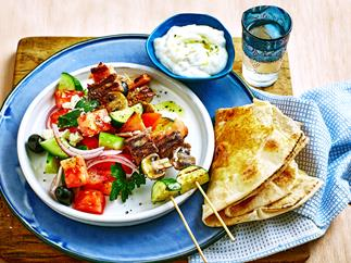 Beef and bacon skewers