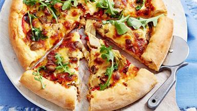 Cheese-stuffed pepperoni pizza
