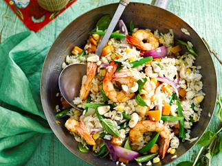 Green curry prawn fried rice