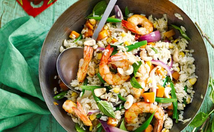 Green curry prawn fried rice