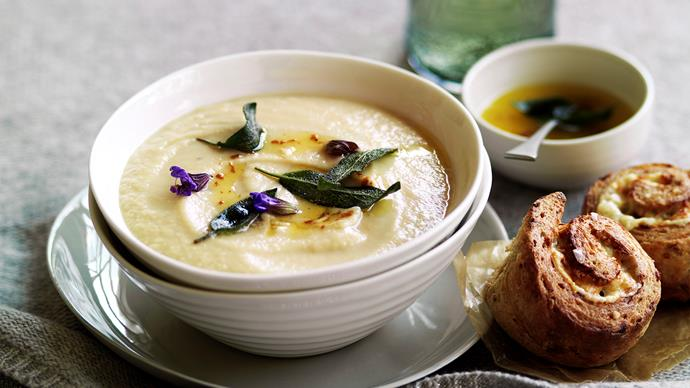 Roast garlic and parsnip soup
