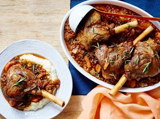 Lamb shanks with lentil ragout
