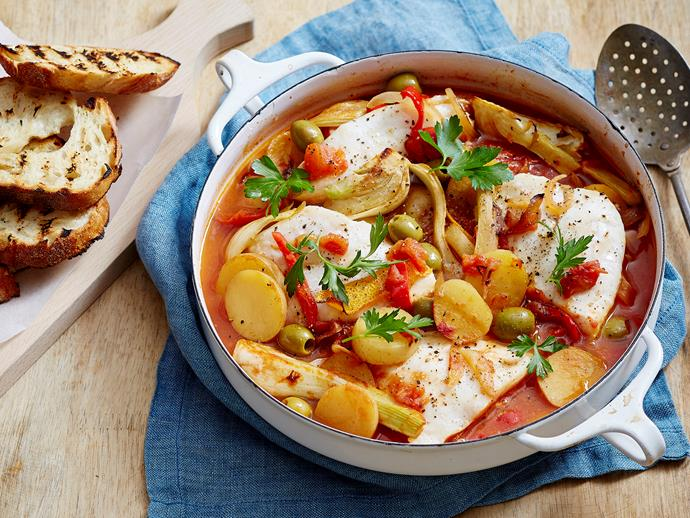 "Create this flavour-packed [Spanish casserole](https://www.womensweeklyfood.com.au/recipes/spanish-fish-casserole-1563|target=""_blank"") in no time at all with this tasty recipe. This is a great way to get your family eating more fish, too, as they'll love the fragrant sauce it's served in."