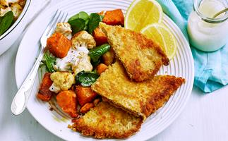 Veal schnitzels with spiced vegetables