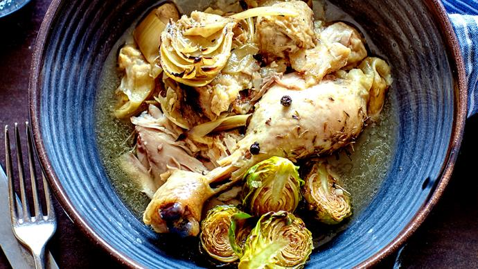 Wine and thyme braised chicken