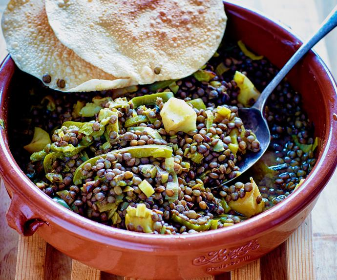 Spiced leeks and lentils