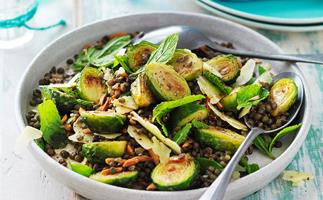 Roasted brussels sprouts & lentil salad