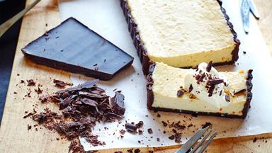 Creamy chocolate and orange ricotta tart