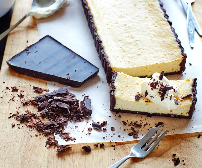 Chocolate and orange ricotta tart