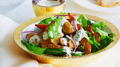 Mixed potato salad with creamy lemon dressing