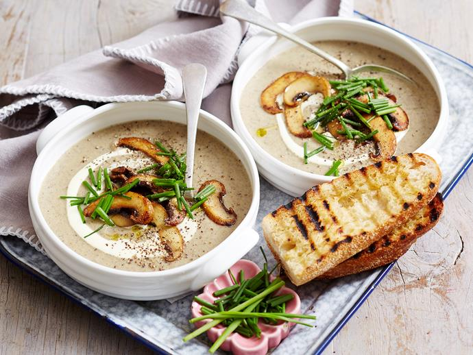"""**[Mushroom and leek soup](https://www.womensweeklyfood.com.au/recipes/mushroom-and-leek-soup-1586