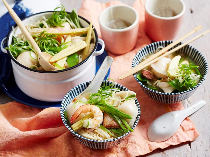 "**[Quick combination short and long soup](https://www.womensweeklyfood.com.au/recipes/combination-short-and-long-soup-1587|target=""_blank"")**  Recreate this classic Chinese soup at home in no time at all with this easy recipe. We've used simple ingredients so you can have this on the table in no time at all - perfect for weeknight dinners."