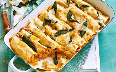 Chicken cannelloni with sage butter