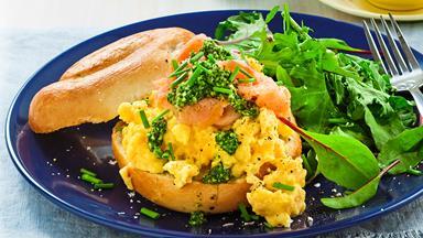 Creamy scrambled egg andsalmonbagels