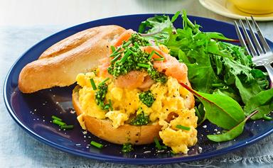 Creamy scrambled egg and salmon bagels