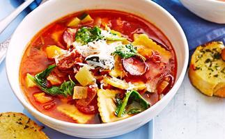 Vegetable and ravioli soup
