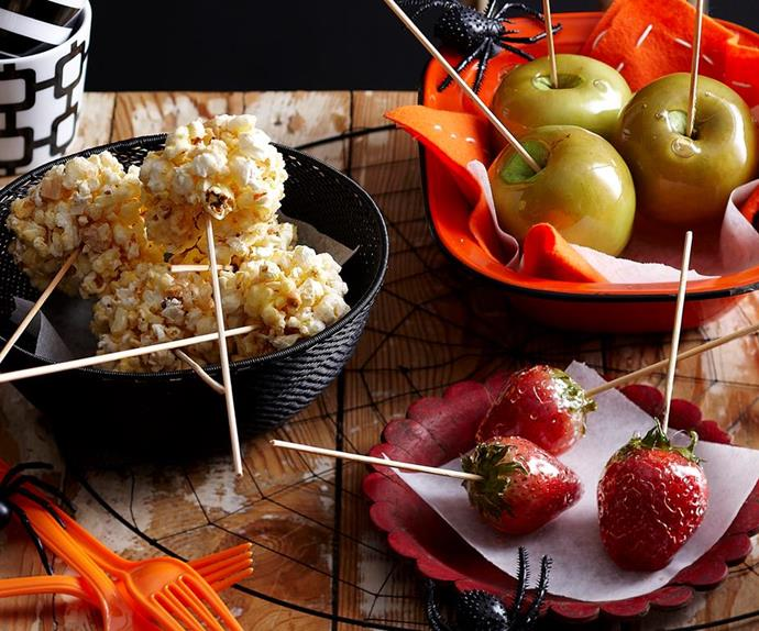 Toffee popcorn sticks & poison fruit skewers