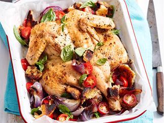 Roast chicken with sweet onion panzanella