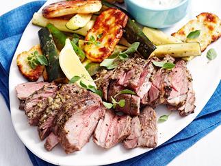 Mini Greek lamb roast with grilled halloumi
