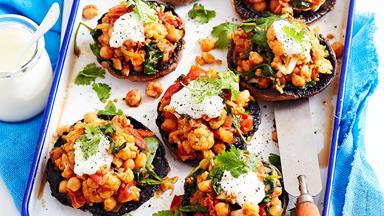Chickpea and cauliflower-stuffed mushrooms