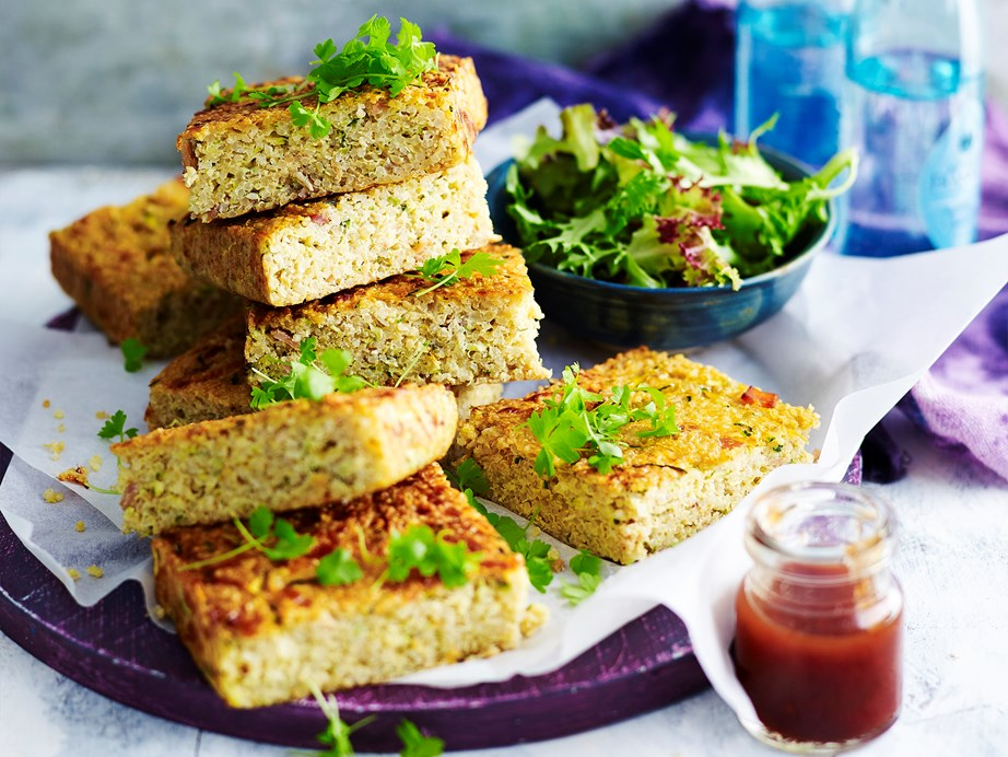 "**[Gluten-free zucchini and quinoa slice](https://www.womensweeklyfood.com.au/recipes/gluten-free-zucchini-and-quinoa-slice-1601 target=""_blank"")**"