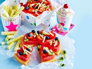 Healthy fruit 'pizza' kids birthday party cake