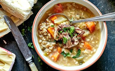 Hearty oxtail and barley soup