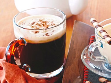 Easy Irish coffee with nutmeg